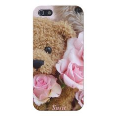 two teddy bears holding roses cover for iPhone 5/5S
