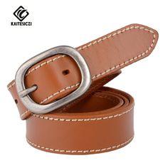[KAITESICZI] 2017 new lady 100% leather belt fashion retro car line craft belt ladies brand belts jeans thin belt