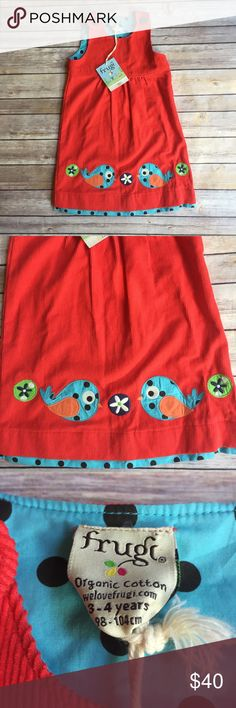 NWT Frugi Pinnie Size 3-4 new with tag Frudi corduroy Pinnie.  Button detail at straps for easy dressing.  Bird appliqué along the bottom. Frugi Dresses