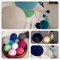 Lichterkette Mädchenfarben cottonballs Dekoration Stimmungslicht