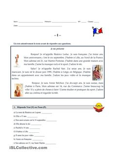 Je me présente French Flashcards, French Worksheets, French Kids, High School French, French Language Lessons, French Lessons, French Teacher, Teaching French, French Basics