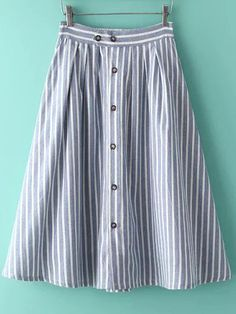 Shop Blue Vertical Stripe Buttons Skirt online. SheIn offers Blue Vertical Stripe Buttons Skirt & more to fit your fashionable needs.