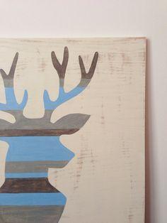 Large Hand Painted Deer Silhouette, Woodland Nursery Art, Rustic Nursery Decor, Wood Wall Art, Deer Head Art, Baby Boy Nursery, Buck Head