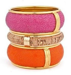 Stingray and Cork Bangles by Robyn Brooks orang, cork, color combos, style, bracelets, accessori, bangles, jewelri, robyn brook