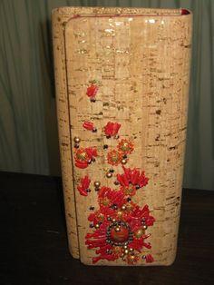 Cork and coral handbag