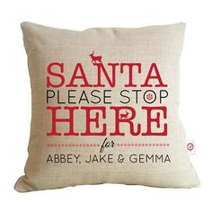 Santa please stop here personalised cushion Santa please stop here for Hayley CHRISTMAS IN #HTFSTYLE