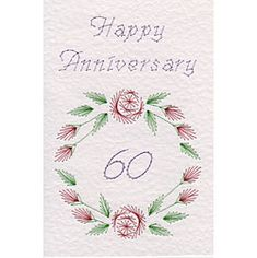 Flower Circle Anniversary 60 | Special Occasions patterns at Stitching Cards.