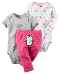 Carter's Baby Girls Take Me Away Little Character Set -Newborn -Pink Penguin Nickel-free snap with reinforced panel Adjustable shoulders Carters Baby Girl, My Baby Girl, Baby Girl Newborn, Baby Love, Baby Girls, Baby Outfits, Kids Outfits, Baby Set, Baby Girl Fashion