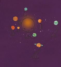 The solar system is really operated by an octopus #planets #space #art #illustration