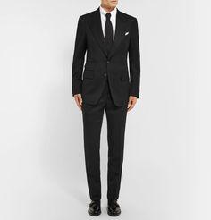 TOM FORD - Icon Black Shelton Slim-Fit Grain De Poudre Wool-Blend Suit