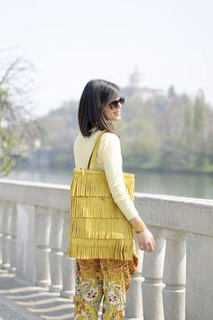 Shades of yellow: Baroque pants & Pastel jersey #lauracomolli #pursesandi #fashion #fashionblogger #style #outfit #look #miawish #yellow #desigual #cruciani #salylimon #gioya #turin #ss2013 #spring #flowers #happy #smile #girl #cute #beauty #beautiful #laurabags www.pursesandi.net
