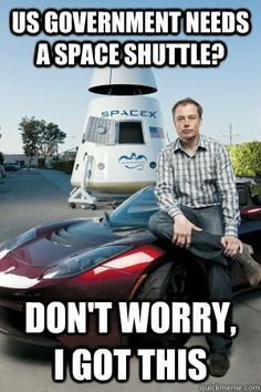 Good guy Elon Musk meme, started Paypal, tesla elect cars, hyper loop (supersonische train) SpaceX (ruimtevaart)