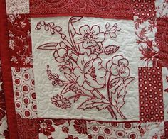 KNOT-Y EMBROIDERY LADY: Red Work Quilt for Empty Bowls