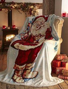 Father Christmas Xmas Santa Claus Fleece Decorative Bed/sofa Blanket Throw-over Polyester Multi-colour