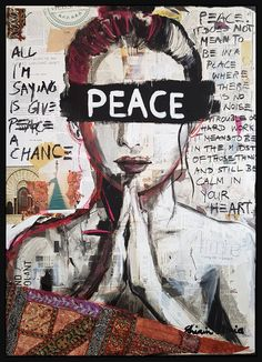 ✅ Buy the Artwork 'PEACE' by Shirin Donia : Painting Acrylic, Collage on Wood - ➽ Free Delivery ➽ Secure Payment ➽ Free Returns A Level Art Themes, Peace Drawing, Peace Painting, Peace Sign Art, Cosmic Art, Oil Pastel Art, Donia, Communication Art, Hippie Art