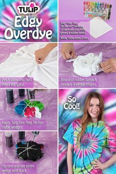 It& fashion art made easy! Give your tie-dye shirt a unique look with this step-by-step tutorial from Tulip! to tie dye shirts step by step Shibori, Tie Dye Instructions, Tulip Tie Dye, Ty Dye, Tie Dye Party, Diy Tie Dye Shirts, Tie Dye Kit, Tie Dye Crafts, Tie Dye Techniques