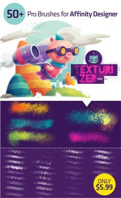Texturizer Brush Pack for Affinity Designer Graphisches Design, Affinity Photo, Flat Design Illustration, Adobe Illustrator Tutorials, Photo Processing, Affinity Designer, Digital Painting Tutorials, Photoshop Tutorial, School Design