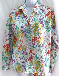 Womens Orvis Sporting Traditions Floral Pattern Button Front Cotton Shirt Size 4 #Orvis #ButtonFront #Casual