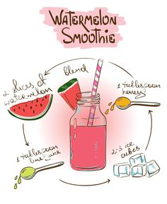 New fruit cartoon illustrations galleries Ideas Watermelon Smoothie Recipes, Healthy Smoothies, Healthy Drinks, Healthy Recipes, Tea Recipes, Cooking Recipes, Recipe Drawing, Sketch Note, Food Doodles