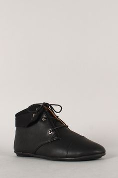 e649818c336 Bamboo Aidan-01 Leatherette Fold Over Cuff Lace Up Bootie Crazy Shoes