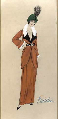 1913  Madame Jeanne Paquin  Design for a coat and dress or skirt ensemble with a green turban. The design is inscribed 'Candie' and may refer to the name of the ensemble or the collection for which it was created.    The colours of the outfit and turban may have been inspired by the exotic costumes of the fashionable Ballets Russes.  V Museum