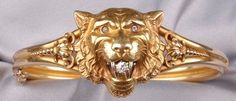 Here, Kitty, Kitty. Bangle Bracelet; Alling & Co, 14K Gold Lion Head, Diamond Accents, Hinged.