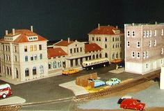 HO scale model train layout - part of what we are excited about learning how to build! Although we started out as die-cast car collectors, we are fascinated by the buildings, details and miniature items that people use in dioramas and train gardens. Am really looking forward to connecting with some people that share a passion for this hobby! :)