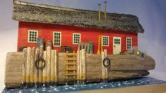 Treibholz Skulptur Kunst, Skulptur Wandkunst, Fish Shack Diorama
