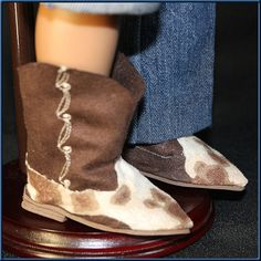 "Cow Girl - Cowboy Boots, ""Cow Hide"" or ""Snake Skin"" Doll Accessories; for American Girl or American Boy Style 18"" Dolls! Fall & Winter Boots"