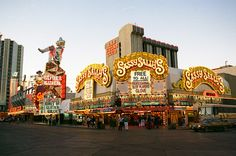Las Vegas, early 1980s. Fremont & 1st - Sassy Sally's, Glitter Gulch, Golden Goose - each run by Herb Pastor.