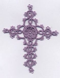 Tatted Purple Rosette Cross