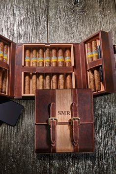 This lavish personalized humidor combines Spanish Cedar and genuine leather. Magnetic closures allow for easy travel. Tailor-made sponge preserves up to 13 distinctive cigars. Cigars And Whiskey, Good Cigars, Pipes And Cigars, Cigar Gifts, Wine Gifts, Leather Cigar Case, Cigar Cases, Cigar Accessories, Wine Gift Baskets