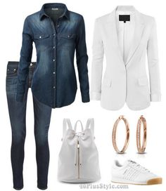 How to wear a denim shirt and white blazer 5 different ways! | 40plusstyle.com