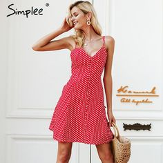 Strap button summer dress women Plaid v neck streetwear casual dress female Spring red short dress femme