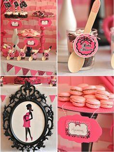 Pink & Black Glam Baby Shower from @Creative Juice #desserttable #babyshower #parties