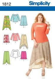 Sewing Ladies Clothes Misses'/Women's Skirts and Knit Top Sewing Pattern. AKA Simplicity 1812 - Misses'/Women's Skirts and Knit Top Sewing Pattern. Plus Size Sewing Patterns, Skirt Patterns Sewing, Simplicity Sewing Patterns, Clothing Patterns, Skirt Sewing, Pattern Sewing, Plus Size Skirts, Plus Size Outfits, Steampunk Skirt