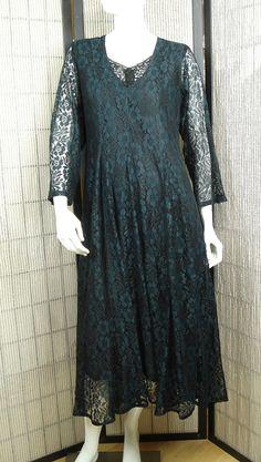 Dark emerald green boho maxi dress long sleeve  by natatusy, $28.00