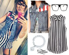Allison Green wears an American Flag Denim Vest from Forever 21 ($24.80) over a Striped Sleeveless Chiffon Blouse from H&M ($24.00, sold out). You can find Oversized Square Clear Lens Glasses like hers on Amazon ($9.90). She wears a Heart Tag Bracelet from Tiffany & Co ($275.00), but there are many knock-offs on the market including this Sterling Silver Heart Charm Bracelet ($33.99).