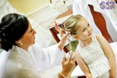 Finishing touches for the adorable flower girl! Beautiful Bridesmaid Dresses, Photo Credit, Gowns, Bridal, Flower, Vestidos, Dresses, Bride, Gown