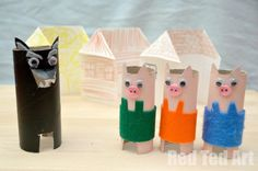 Fairy Tale Crafts: 3 Little Pigs, the big bad wolf and how to make simple Origami Houses.