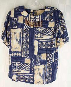 Vintage Carole Little Rayon Blue Tan Beaded SS Top Blouse Oversized Size 4 #CaroleLittle #Blouse