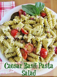 Caesar Basil Pasta Salad {hands down the best pasta salad ever!!}