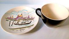 Vintage 1950s Teacup Coffee Cup & Saucer. James Cooper, Venice, Gondola Design For Washington Pottery. Retro Tableware, Dinner Service