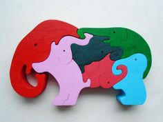 Wood puzzle Elephants. Wooden handmade toys, wooden animals, Natural eco friendly, waldorf toy, education children, kids game