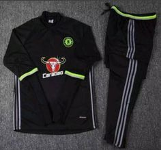 Black Chelsea FC 16-17 Season Training Soccer Sweat Suits  I61  Cheap  Football fa756ed5a