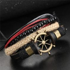 Boho Women Fashion Leather Bracelets&Bangles 4 PCS Wristband Anchors Jewelry Vintage Charm Pulseira Masculina