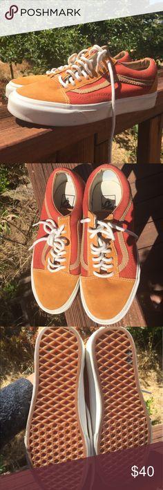 Vans mustard and orange old school vans Great condition! Worn a handful of times. Men's 6.5=women's 8 Vans Shoes Sneakers