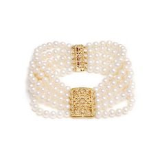 Glamorous five row freshwater pearl bracelet with gold clasps.