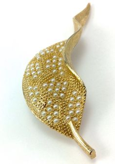 Vintage ART Signed Gold Tone Micro Pearls Leaf Pin Brooch