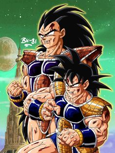 Brothers fighting together. Goku and radditz Dragon Ball Z, Dragon Bowl, Dragon Images, Illustrations, Son Goku, Drawing Skills, Anime Fantasy, Cultura Pop, Cartoon